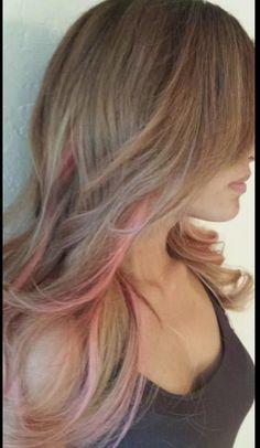 brown hair with pink peekaboos - Google Search