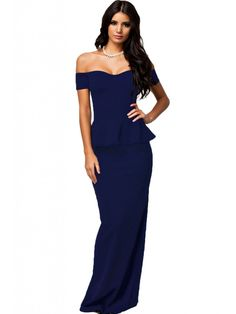 Sexy Womens Peplum Maxi Dress With Drop Shoulder Evening Party Grown * Check out the image by visiting the link. (This is an affiliate link) Elegant Prom Dresses, Black Party Dresses, Black Evening Dresses, Blue Dresses, Formal Dresses, Dress Black, Peplum Dresses, Black Peplum, Long Dresses