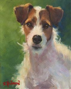Jack Russel terrier original art in oil and acrylic www.DebbieRichmondArt.com