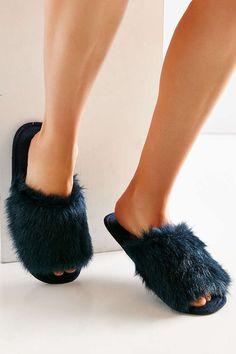 River Island Animal Faux Fur Open Toe Mule Slippers