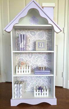 Children's doll house bookcase, Custom children's dollhouse bookcase, Nursery bookcase, Girl's bookcase,