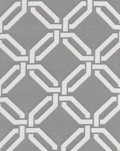 """An elegant, geometric print in soft gray and white by Braemore. Pattern is multi directional and is 4.5"""" x 4.5"""". Made of 100% cotton, plain ..."""
