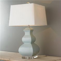 "Porcelain Square Gourd Table Lamp  100 watts max, 3 way medium base socket. UL Listed. (25""Hx14""W) Linen hardback shade (12.5x14x10)."