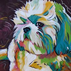 Grady the Shih Tzu Grady was a 12x12 pop art acrylic commission on canvas and is my 2nd most popular image sold as a reproduction.