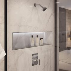 Symmons Duro Pressure Balance Shower Faucet Trim with Lever Handle Finish: Satin Nickel Bathroom Niche, Shower Niche, Tub And Shower Faucets, Shower Tub, Bathroom Fixtures, Bathroom Interior, Modern Bathroom, Small Bathroom, Interior Design Living Room