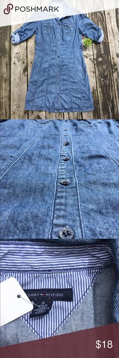 Tommy Hilfiger denim dress adorable denim dres that perfect length buttions all the way down. has pockets in sides as shown colllar roll up sleeves. awesome condition Tommy Hilfiger Dresses