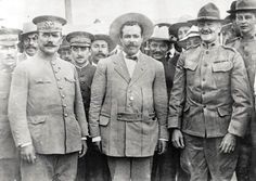 "Álvaro Obregón Pancho Villa and General John ""Black Jack"" Pershing after a meeting at Fort Bliss TX 1913 [859  612] #HistoryPorn #history #retro http://ift.tt/1PhOZXA"