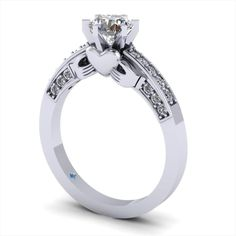 Combines the regular engagement ring with the claddagh in a way I love! Put a cushion cut diamond on top! I would so totally want this! Claddagh Engagement Ring, Claddagh Rings, Diamond Engagement Rings, Claddagh Wedding Ring, Diamond Claddagh Ring, Solitaire Rings, Halo Engagement, Beautiful Engagement Rings, Designer Engagement Rings
