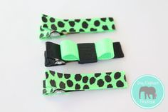 Limelight Hair Clip Trio by GrayElephantBoutique on Etsy