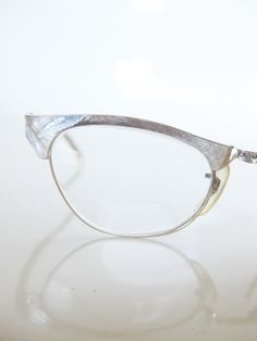 b3a27744b50 Vintage BRUSHED Brass Cat Eye Catseye Glasses Eyeglasses Optical Frames  1950 50s Fifties Mad Men