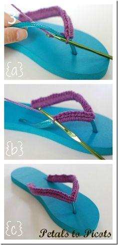 Monroe Crochet Patterns: Crochet Flip Flops with Flower Pattern