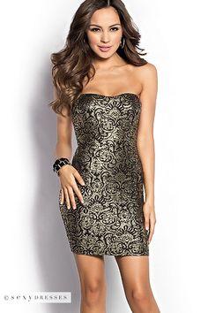 Black+and+Gold+Foil+Print+Bodycon+Strapless+Mini+Dress
