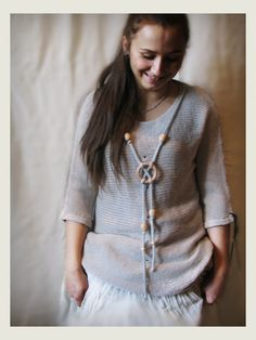 Grey merino wool sweater with short sleeves by Rewella on Etsy