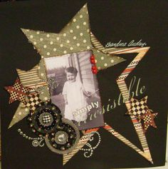 Simply Irresistable - Scrapbook.com  ♥ the shabby colour tones on black background, angled stars and embellishments.