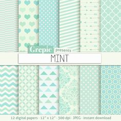 "Mint digital paper: ""MINT"" mint green digital paper with chevron, polkadots, stripes, dots, arrows, damask, triangles, quatrefoil, hearts"