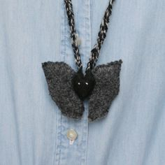 Children's necklance:  Bat W in Stuffed Creature by PapaCloudy