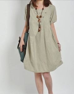 linen summer dress casual loose dress Vintage Dress by buykud, $49.00