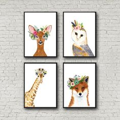 Animal print set Set of 4 Prints giraffe owl fox by zuhalkanar