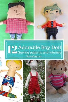 Why should girls have all the fun? Make your own cute boy doll with these 12 adorable boy doll sewing patterns and tutorials. I'll be making a few for Christmas gifts this year | DIY | Threadistry