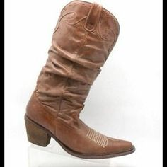 I just discovered this while shopping on Poshmark: STEVE MADDEN SADDDLE BROWN SLOUCH COWBOY BOOTS 7.5. Check it out!  Size: 7.5