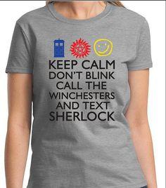 SUPERWHOLOCK SUPERNATURAL SHERLOCK Doctor Who Women's Men's Kid's Sizes T-Shirt Dean Sam Winchester Sherlock Holmes