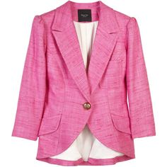 Smythe Silk-embroidered blazer (8,595 MXN) ❤ liked on Polyvore featuring outerwear, jackets, blazers, pink, tops, pocket jacket, pink jacket, embroidery jackets, 3/4 sleeve blazer and smythe jacket