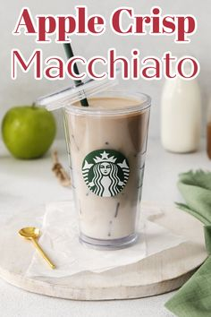 Apple Crisp Macchiato - Make your favorite fall drink at home with just a few simple ingredients! Filled with warm apple flavor, it's so delicious! Starbucks Copycat Recipe   Apple Crisp Macchiato Recipe   Drink Recipe #apple Easy Drink Recipes, Apple Recipes, Copycat Recipes, Yummy Drinks, Espresso Recipes, Coffee Recipes, Apple Syrup Recipe, Caramel Macchiato Recipe, Cold Coffee Drinks