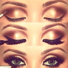 Warm gold   bronze smokey eye