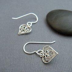 tiny heart earrings. sterling silver filigree dangles. ornate heart earrings. delicate. oxidized. everyday jewelry. sterling drop earrings. Tiny