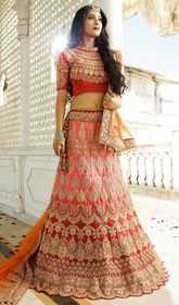 Lehenga Choli in Salmon Color Embroidered Silk #weddinglehenga2017#lenghacholionlineshopping Make others envy you with this lehenga choli in salmon color embroidered silk. This wonderful attire is showing some unbelievable embroidery done with floral patch, lace, resham and stones work. Upon request we can make round front/back neck and short 6 inches sleeves regular lehenga blouse also. USD$ 322(Around £ 222 & Euro 245)