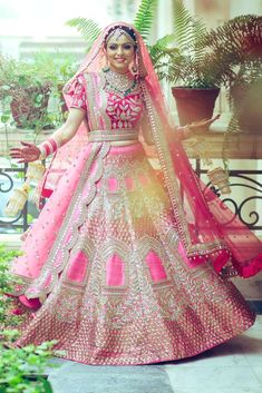 Best Ideas For Wedding Indian Bridal Lehenga Red Designer Bridal Lehenga, Pink Bridal Lehenga, Wedding Lehenga Designs, Indian Wedding Lehenga, Pink Lehenga, Lengha Choli, Saree Gown, Lehenga Kurta, Lehenga Designs Latest