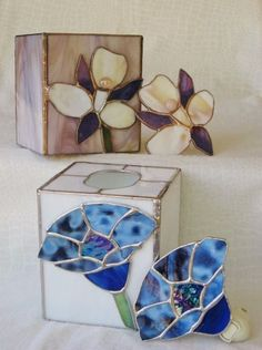 Stained Glass Tissue Box Cover and Matching Nite-Light. Gifts.