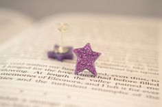 pink and purple glitter star earrings with by sparkletowndesign, $15.00