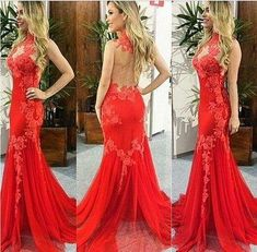 LOVE Prom Dresses Classy Sexy See Through Back Prom Dresses,Slim Prom Gowns,Red Lace Prom Dresses,Mermaid Evening Dresses Prom Gowns Elegant, Modest Evening Gowns, Elegant Bridesmaid Dresses, Mermaid Evening Dresses, Vestidos Vintage, Vestidos Sexy, Sexy Dresses, Backless Prom Dresses, Formal Dresses