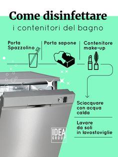 La lavastoviglie è un ottimo metodo per disinfettare i contenitori del bagno.
