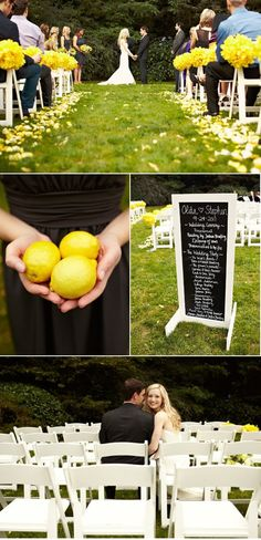 Flower balls and petals. (See flower board for more on flower balls.)  Also I like imagining that the bridesmaids at this wedding carried a bunch of lemons sted of bouquets.