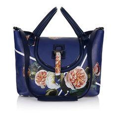 Blue designer handbags - halo - meli melo Main ss'15 (1,390 CAD) ❤ liked on Polyvore featuring bags, handbags, leather handbags, blue leather purse, blue handbags, leather purse and handbags purses