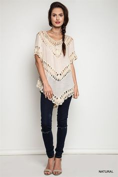 Boho Crochet Knit Tops