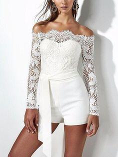 d73f0d58992 White Off Shoulder Tie Waist Lace Panel Long Sleeve Playsuit