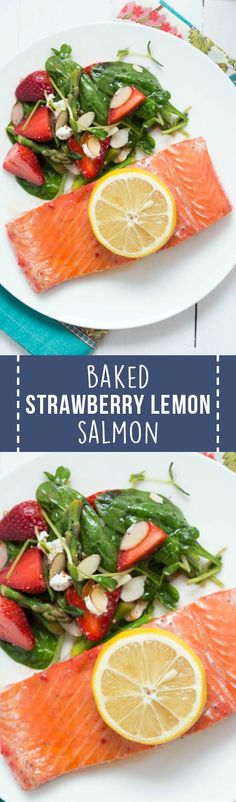 Baked Strawberry Lemon Salmon is a flavorful seasonal dish made with only a few ingredients! Serve it with a crisp salad for a well balanced meal!