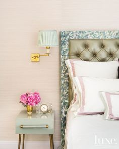 Upholstered Headboard in Master Bedroom