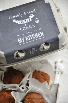 Egg Carton Muffins…branded @Beth Bond here's a cool idea for distributing your awesome baked goods in cute little packages!