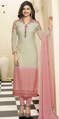 Lovable Cream And Pink Georgette Straight Suit.