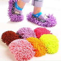 1 pair release foot cleaner shoes 6 colors for mop slipper floor dust clean shoe cover home tools easy use lazy  mop shoes DA-in Mops from Home & Garden on Aliexpress.com | Alibaba Group