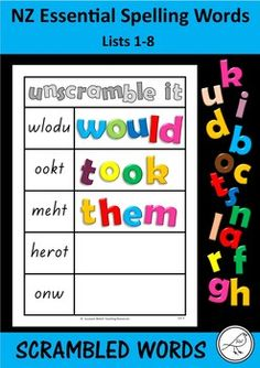 New Zealand Essential Spelling Words - 'Unscramble it' mats Activity Sheets, Activity Centers, Literacy Centers, Magnetic Letters, Alphabet Letters, Spelling Words, Scrabble Tiles, Interactive Activities, Child Care