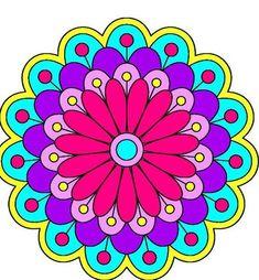 Mandalas coloreados fáciles - Mandalaweb Mandala Art Lesson, Mandala Drawing, Mandala Painting, Dot Art Painting, Fabric Painting, Folk Art Flowers, Flower Art, Cow Cartoon Images, Pots D'argile