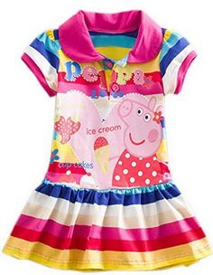 b48635cd5363 Yuting Little Girls' Summer Peppa Pig Dress,lapel Rainbow Color this size  is slim fit ,then please choose size. if your kids ,you'd better choose  ,then ...