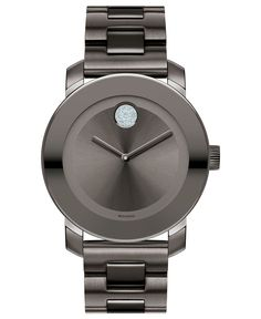 Movado Swiss Bold Medium Gray Ion Plated Stainless Steel Bracelet Watch 36mm…