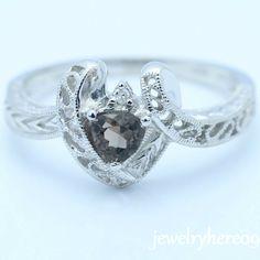 5MMTRILLION Smokey Topaz Solid 14k White Gold Engagement Weding Diamond Ring | eBay
