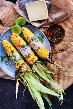Grilled Corn with Truffle Oil, Chili & Parmesan via Finger Fork Knife